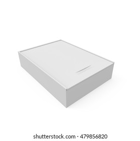 Blank Wooden box isolated on white background. 3D illustration, 3D render.