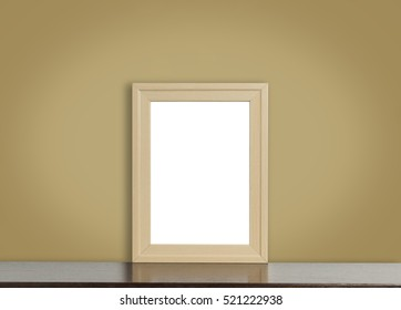 Blank Wooden frame on brown background.