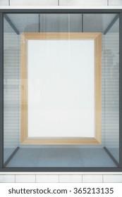 Blank wooden frame in a shop window, mock up 3D Render