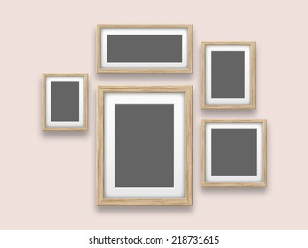 blank wooden frames template set on the wall