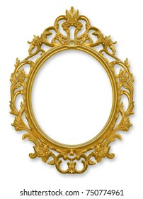 Blank wooden golden baroque frame - concept image with central copy space