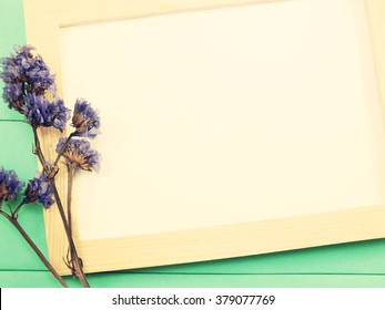 Blanks for greeting cards stock images royalty free images blank wooden photo frame and dried flowers valentines day with vintage filter color m4hsunfo