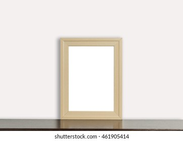 Blank Wooden Photo frame on white background. Empty picture frame for photo, picture text editing.