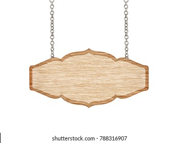 blank wooden sign hanging on a chain. isolated on white