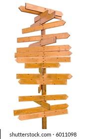 blank wooden signpost with many arrows
