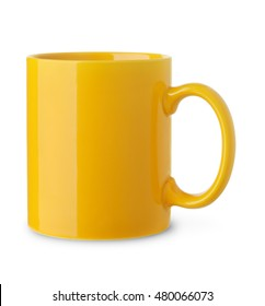Blank yellow coffee cup isolated on white
