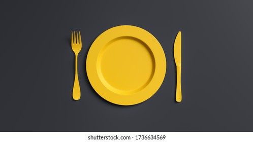 Blank yellow plate mockup with fork and knife, top view. Clear ceramic dishware with set cutlery design. Empty yellow table ware for lunch or dinner in cafe. copyspace for your individual text.