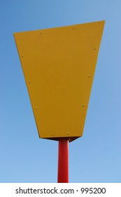 A blank yellow and red information sign with clipping path