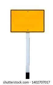 Blank yellow road sign or Empty traffic signs isolated on white background with clipping path.