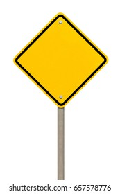 Blank yellow road sign or Empty traffic signs isolated on white background
