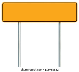 Blank Yellow Road Sign, Isolated Large Warning Copy Space, Black Frame Roadside Signpost Signboard Pole Post Empty Traffic Signage