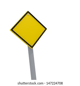 Blank yellow sign with space for text on a white background