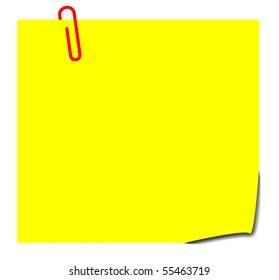 Blank yellow sticky note with paperclip, isolated on white background.