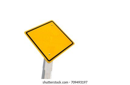 Blank yellow traffic sign, empty road sign isolated on white  background
