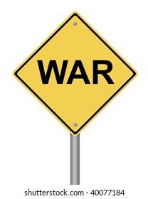 blank yellow war warning sign on white background