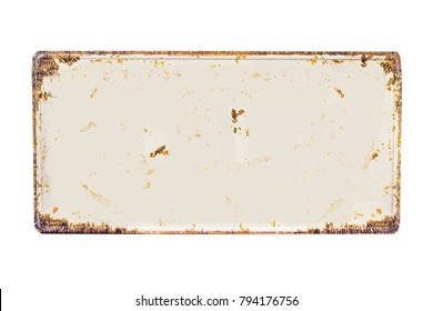 Blanked rusted vehicle license plate isolated on white background