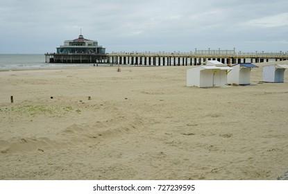 BLANKENBERGE, BELGIUM -1 OCT 2017- The Belgium Pier over the North Sea in Blankenberge, a beach resort town on the Belgian Coast.