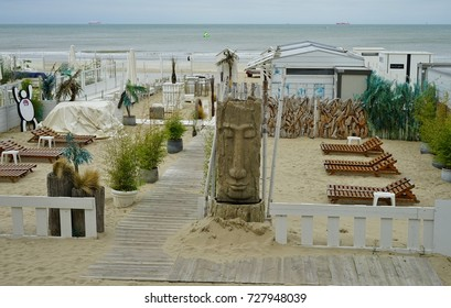 BLANKENBERGE, BELGIUM -1 OCT 2017- The beach over the North Sea in Blankenberge, a beach resort town on the Belgian Coast.