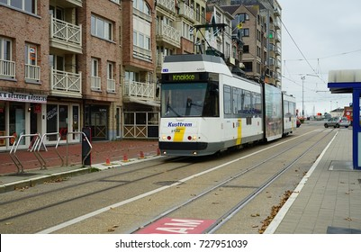 BLANKENBERGE, BELGIUM -1 OCT 2017- The Coast Tram (Kusttram) is a public service tramway along the Belgium coast from Knokke to De Panne. It is the longest tram line in the world.
