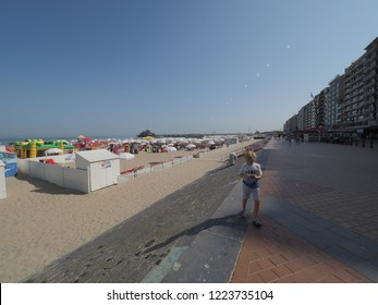 Blankenberge, Belgium - 7 August 2018: Image of the many bars on the beach and the pier.