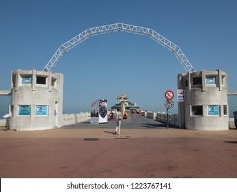 Blankenberge, Belgium - 7 August 2018: Access to the Blankenberge pier.