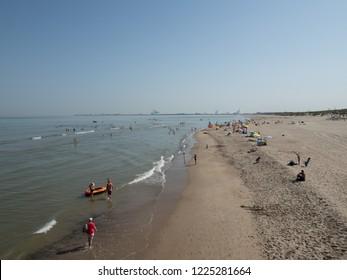 Blankenberge, Belgium - 7 August 2018: The coastline of Blankenberge seen from the pier.