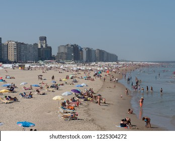 Blankenberge, Belgium - 7 August 2018: Blankenberge beach full of tourists.