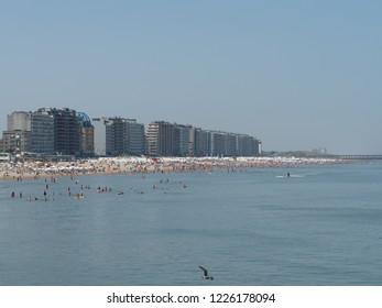 Blankenberge, Belgium - 7 August 2018: The crowded beach of Blankenberge.