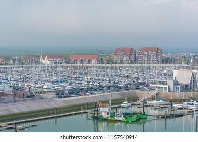 Blankenberge in Belgium, the harbor, view at dawn