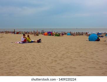 Blankenberge, Belgium - July 19, 2014: North sea beach