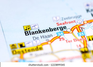 Blankenberge. Belgium on a map