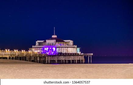 Blankenberge, Belgium, the popular jetty on the beach, Belgian coastal architecture by night
