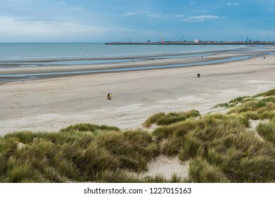 Blankenberge, Flanders / Belgium - 10 30 2018: Large panoramic view over the beach and green dunes at the Belgian North sea during autumn