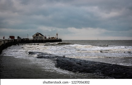 Blankenberge, Flanders / Belgium - 10 30 2018: View over the North Sea, a pier and breakwater