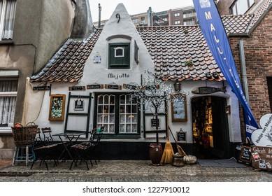 Blankenberge, Flanders / Belgium - 10 30 2018: Facade of the traditional Majutte house