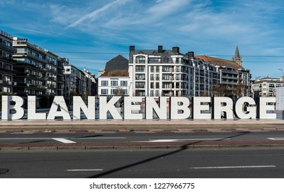 Blankenberge, Flanders / Belgium - 10 30 2018: Sign of the city at the Leopold III square near the railwaystation
