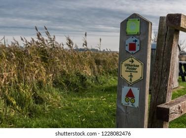 Blankenberge, Flanders / Belgium - 30 10 2018: Signs indicating the walking route in the nature reserve Uitkerkse Polders