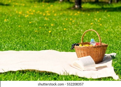 blanket and a basket of fruit for lunch in the summer park