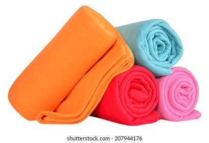 Blankets isolated against white background.