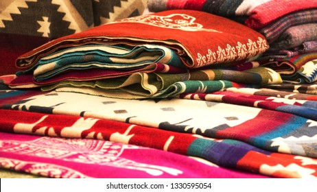 Blankets for sale at the artisan's market in Otavalo, Ecuador
