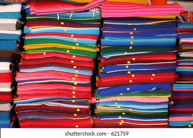 Blankets for sale at a roadside shop in mexico.