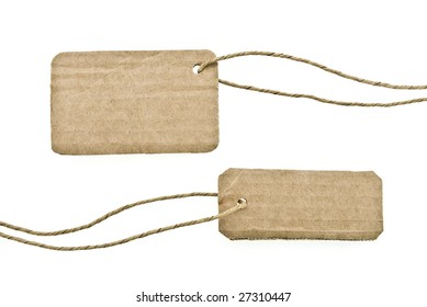 Blanks cardboard tags isolated on white