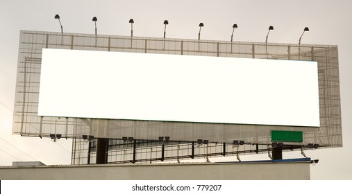 A blank/white landscape panoramic billboard space on a building