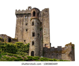 Blarney Castle (Irish: Caislean na Blarnan) isolated on white background. It is a medieval stronghold in Blarney, near Cork, Ireland.
