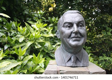 Blarney, County Cork, Republic of Ireland - May 3, 2019: Bust of John C. Kelleher at Blarney Woollen Mills, founder of Blarney Woollen Mills