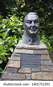 Blarney, County Cork, Republic of Ireland - May 6, 2019: Bust and plaque of John C. Keller, founder of Blarney Woollen Mills, located at Blarney Woollen Mills