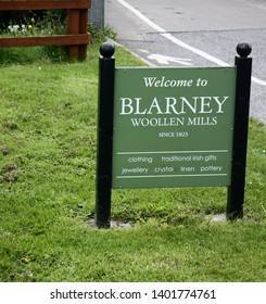 Blarney, County Cork, Republic of Ireland - May 3, 2019: Welcome to Blarney Woolen Mills sign