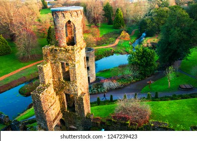 Blarney, Ireland. Autumn in Ireland. Aerial view of Blarney Castle tower in Ireland. Forest and fields at the background