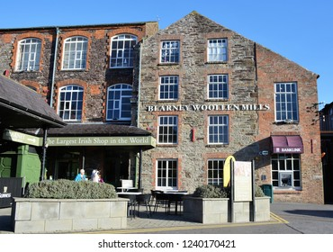 Blarney, Ireland - October, 2018: The exterior of the Blarney Woolen Mill which is housed in a historic building.