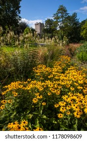 Blarney, Republic of Ireland - August 16th 2018: A view of the beautiful gardens at Blarney Castle in the Republic of Ireland.